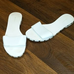 Zara white slides sandals with silver studs size 8